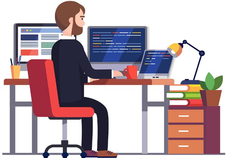 Master Programming - Professional programmer engineer writing code